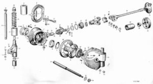 BMW R-71 motorcycle final drive Exploded view