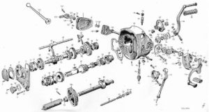 BMW R-71 motorcycle transmission Exploded view