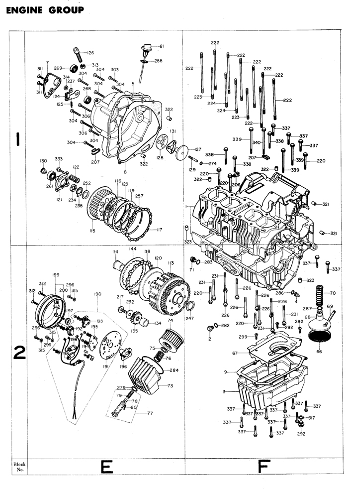 1975 Honda Super Sport CB400F motorcycle engine Exploded view
