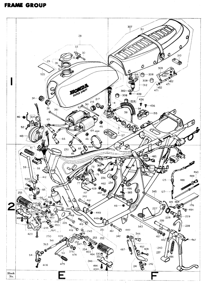 1975 Honda Super Sport CB400F motorcycle frame Exploded view