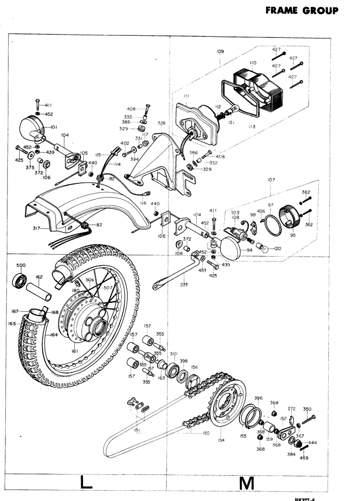 1975 Honda Super Sport CB400F motorcycle rear frame Exploded view