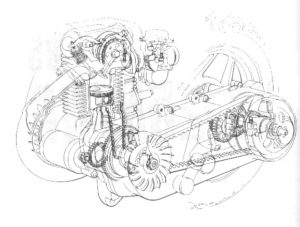Motorcycle engine belt drive exploded view