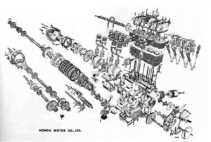 Honda motorcycle engine exploded view