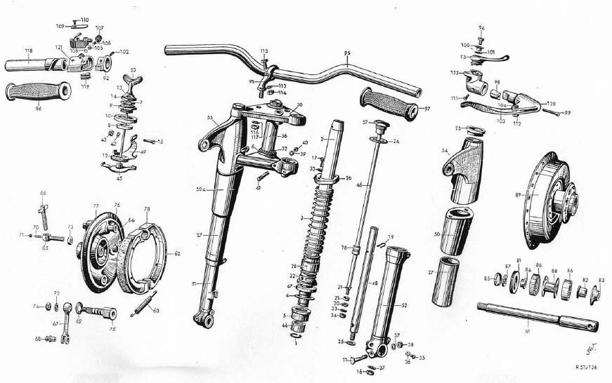 BMW R-71 motorcycle front forks Exploded view