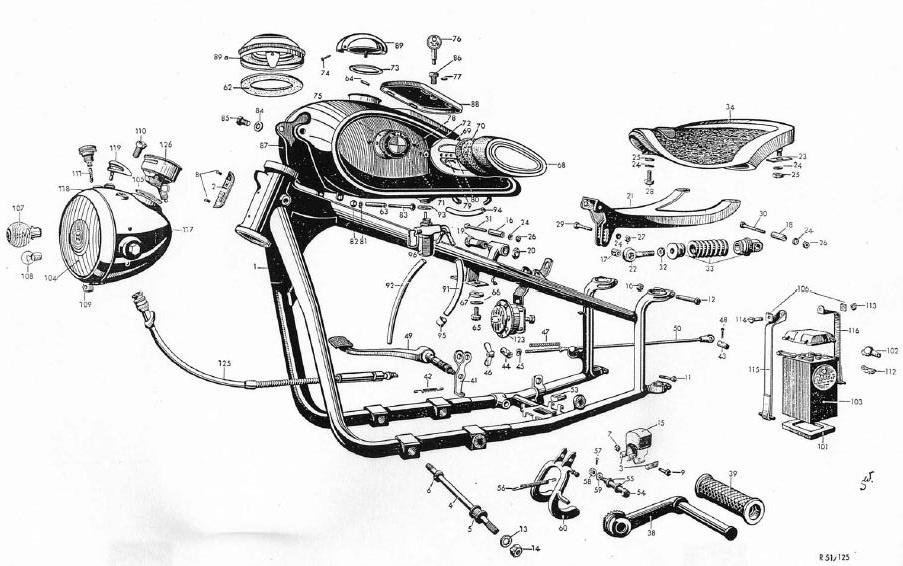BMW R-71 motorcycle Frame Exploded view